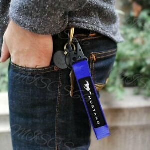 For Mustang Racing Universal Keychain Metal key Ring Hook Strap Lanyard Nylon X1