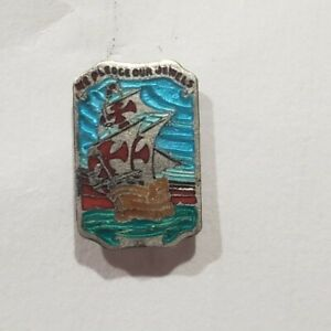 Vintage Sterling Silver We Pledge Our Jewels Maltese Cross Ship Lapel Pin