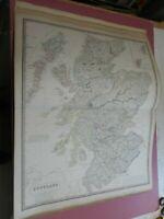 100% ORIGINAL LARGE SCOTLAND MAP BY JOHNSTON NATIONAL ATLAS C1857 VGC RAILWAYS