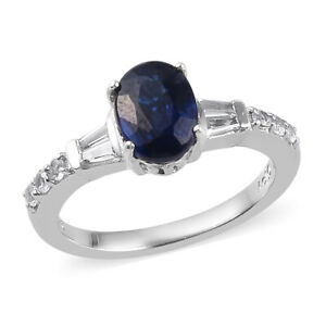 Platinum Over 925 Silver Kyanite White Topaz Solitaire Engagement Ring