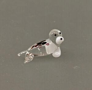 9912203-x kleine Glas Figur Robbe Seehund-Baby L2cm mundgeblasen
