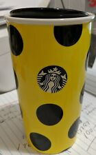 STARBUCKS Coffee Cup 2015 Lady Bug Yellow and Black Polk Dots Never Used