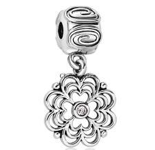 Flower 925 Silver European Bead Dangle Charm Custom Jewelry For Snake Bracelet