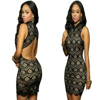 Sz 8 10 Black Lace Sleeveless Bodycon Cocktail Evening Party Sexy Slim Fit Dress