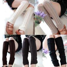 Fashion Women Winter Warm Leg Warmers Knitted Crochet Long Socks Foot Sleeve