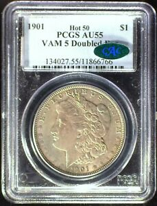 "1901 VAM-5 Hot 50 ""Doubled Ear"" PCGS AU55 CAC Morgan Dollar [inv 1272]"