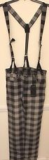 NWT Rocawear Blak Black Plaid Skinny Fit Jeans with Suspenders Size 32 x 32 $88