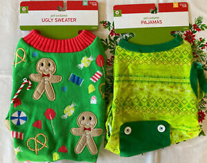 2 Christmas Ugly Sweater & PAJAMAS Dog Costume Size M & S Brand New