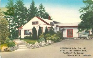 1940s Resmond's on the Hill Restaurant PORTLAND Oregon roadside linen  3094