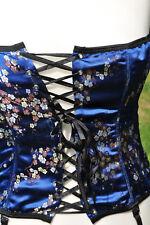 Gr XL NEU Korsage sexy zart glänzend Blau Schnürung 16Häkchen Dessous Strapse