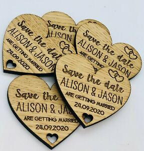 Personalised Rustic Wooden Heart Save The Date Fridge Magnet Wedding Invites