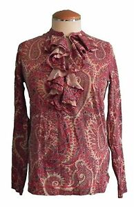 Womens New Ralph Lauren Top Long Sleeve Paisley Print X Small Ruffled Cotton