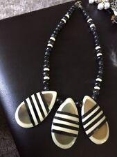 Karla Jordan Black Bead Necklace With Large Stripes Pendants