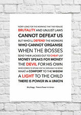 Billy Bragg - There Is Power In A Union - Song Lyric Art Poster - A4 Size