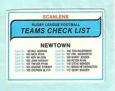 1980  NEWTOWN  RUGBY LEAGUE CHECKLIST CARD - UNCHECKED BUT NOT MINT