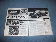 "1987 Renault GTA Vintage Info Article ""...Highly Responsive Road Rocket"""
