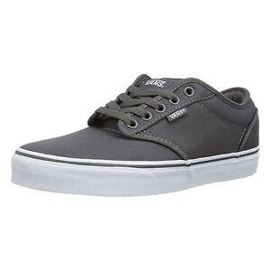 VANS Atwood Mens Canvas Skater Trainers Plain Shoes Lace Up Plimsolls Grey White