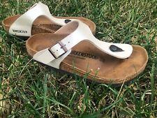 Birkenstock Gizeh White Thong Sandals 240 Size 37 L6 M4