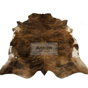 """COWHIDE BRINDLE EXOTIC 7'x6' & 8'x6'5"""" Ft APPROX Cow Skin Rug Leather Cow Hide"""