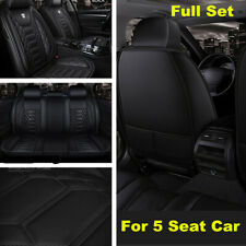 Black Luxury Leather Car Seat Cover Full Set Front&Rear Seat Cushion Protector