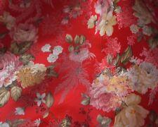 Stoff-Große Blumen rot - 73 cm breit  Mischgewebe  Meterware
