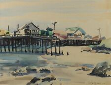 Helen Schepens-Kraus PIER Water Color Painting on Paper Signed Framed California