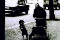 35mm B&W Slide-  Taking the dog for a walk-Spain - Kit Goninon 1974