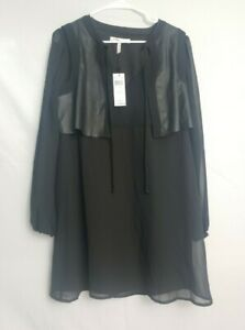 NWT BCBGeneration Black Chiffon Faux Leather Vest Dress M