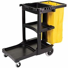 Rubbermaid 6173-88 3 Shelf Janitor Cart with Vinyl Zippered Bag