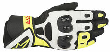 Alpinestars SP Air Leather Motorcycle Motorbike Gloves - Black/White/Flo Yellow