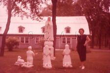 Vintage 1959 Negative / 35mm Slide- Quebec- Canada- Statues- Women's Fashion