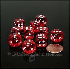 NEW 10 Transparent Red 12mm Rounded Edge D6 Dice Set D&D RPG Game MTG Chessex