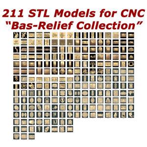 "NEW 211 3d STL Models - ""Bas-Relief Collection"" for CNC relief artcam 3d printer"