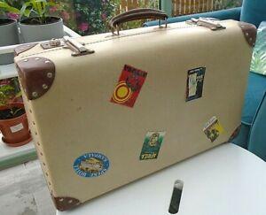 Vintage Cream Brown Faux Leather Orient Make Suitcase Travel Label Retro Luggage