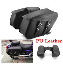 Universal Motorcycle Saddle Bags PU Leather Side Storage Tool Pouch Waterproof