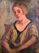 Huile sur toile grand format, portrait de femme 55 x 65,5 cm