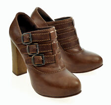 CHLOE BROWN LEATHER BUCKLED CONCEALED PLATFORM ANCLE BOOTIES SIZE 36.5