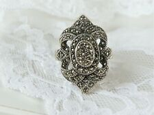 Antique Art Deco Style Sterling Silver 925 Marcasite Tier Layered Ring Size 7