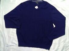 Clubroom Sweater Size Large Diamond Knit V Neck navy blue New