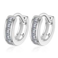 Women's Charm 925 Sterling Silver AAA Zircon Hoop Earrings Best Jewelry Gift