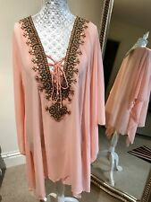 Stunning Kaftan Top Embellished Gold Beading Pale Peach Beach Lunch Evenings Out