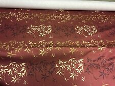 BEAUTIFUL LINEN LOOK DEEP RED FLORAL PRINT DESIGNER CURTAIN FABRIC 6.5 METRES