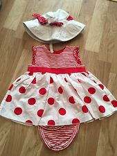 Baby Girls' 2 piece White Red Spotted Sleeveless Summer Dress size 3-6 months