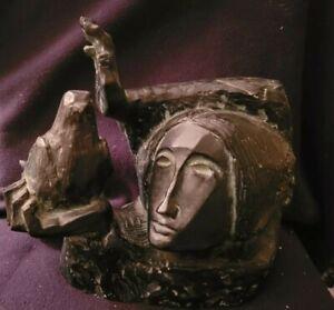 Vintage Signed Sunol Alvar Sculpture La Paloma Picasso Woman with Dove EXCELLENT