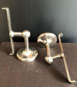 Antique Victorian Nickel/Brass JL Mott SHELF BRACKETS bath/kitchen blind mount