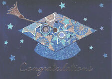 Gorgeous Papyrus Graduation Card -Blue & Gold Glitter Mortarboard & Tassel Stars