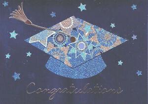 Gorgeous Papyrus Graduation Card -Blue & Gold Glitter Mortarboard & Tassel Stars