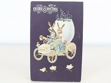 Antique Embossed Germany Humanized Easter Bunny Rabbits Driving Car Postcard (1)