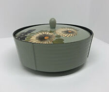 Vintage Green Floral Lacquerware Rice Bowl Serving Bowl Japan