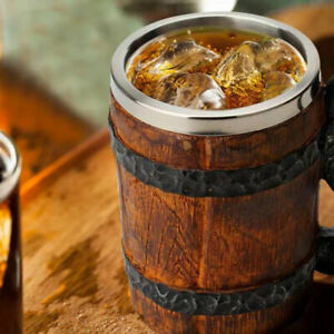 500ml Viking Wood Style Beer Mug as Christmas Gift Simulation Wooden*